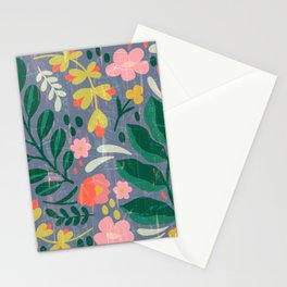 Moody Folk Floral in Dusty Blue Stationery Cards