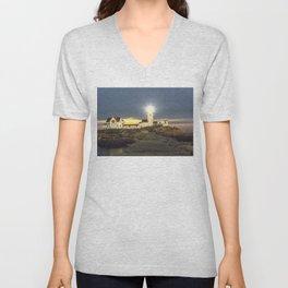 Full moon rising over Eastern point Lighthouse #2 Unisex V-Neck
