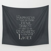 """dumbledore Wall Tapestries featuring Harry Potter - Albus Dumbledore quote """"Happiness""""  by SimpleSerene"""