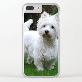 Westie in the garden Clear iPhone Case