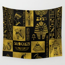 Egyptian  Gold hieroglyphs and symbols collage Wall Tapestry