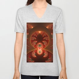 Fractal Mysterious, Warm Colors Are Shining Unisex V-Neck