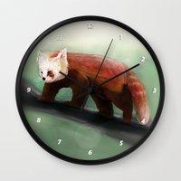 red panda Wall Clocks featuring Red Panda by Ben Geiger