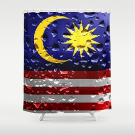 Flag of Malaysia - Raindrops Shower Curtain