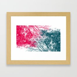 Abstract interweaving tree branches (pink and green) Framed Art Print