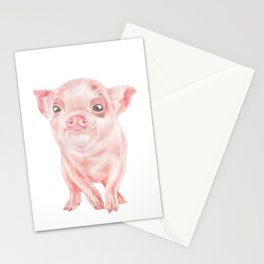 Baby Pig | Watercolour | Baby Animal Art | Animals Stationery Cards