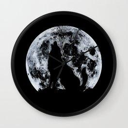 Wolf And Moon Wall Clock