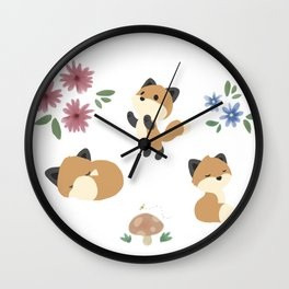 Fox and Flowers Wall Clock
