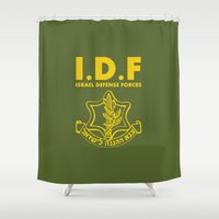 israel Shower Curtains featuring IDF Israel Defense Forces - with Symbol - ENG by crouchingpixel