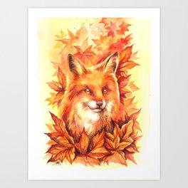 Foxy Autumn Art Print