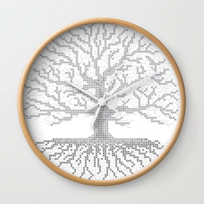 Pixel Art - Cross Stitch Chart - Grey Tree of Life - Wall Clock by ...