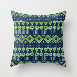 Mudcloth Style 2 in Navy with Lime Green Throw Pillow