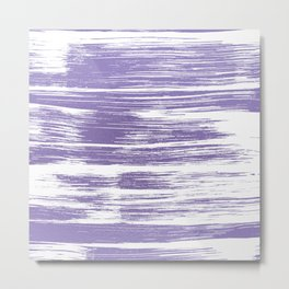 Modern abstract lilac lavender white watercolor brushstrokes Metal Print