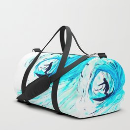 Lone Surfer Tubing the Big Blue Wave Duffle Bag
