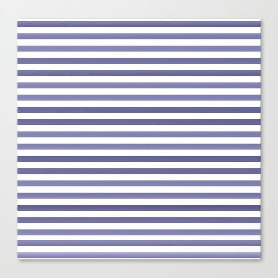 Blue- White- Stripe - Stripes - Marine - Maritime - Navy - Sea - Beach - Summer - Sailor 2 Canvas Print