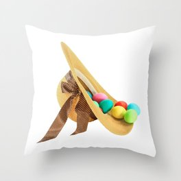 Colored Easter Eggs and woman hat Throw Pillow