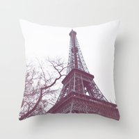 eiffel tower Throw Pillows featuring Eiffel Tower by Sweet Little Pixels