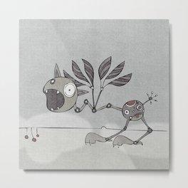 Grey Shrieky Metal Print