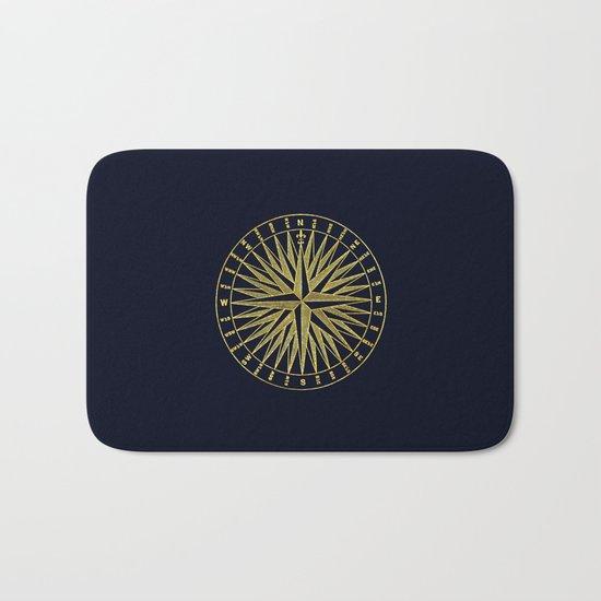 The golden compass- maritime print with gold ornament Bath Mat