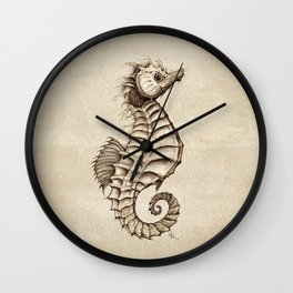 """Fantasy Seahorse"" by Amber Marine ~ (Vintage) ~ Ink Illustration, (Copyright 2016) Wall Clock"