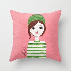 Green Hat Throw Pillow