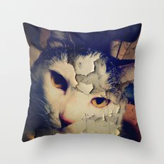 Broken Cat Throw Pillow