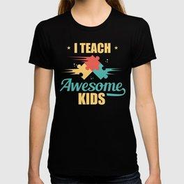 Teacher I Teach Awesome Kids Puzzle Pieces T-shirt