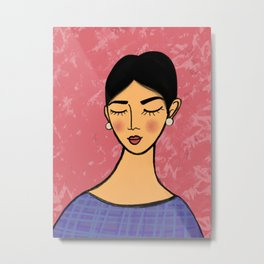 Pearl earrings in Pink Metal Print