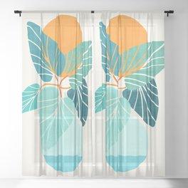 Tropical Symmetry / Retro Aqua Orange Palette Sheer Curtain