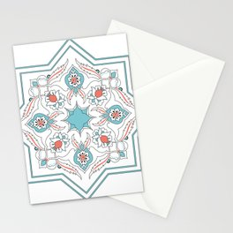 Turquoise Floral Tile Art Stationery Cards
