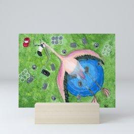 Yard Flamingo Kiddy Pool Mini Art Print