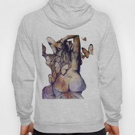 Sugar Coated Sour: Autumn (nude curvy pin up with butterflies) Hoody