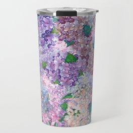 Purple and blue Lilac & Hydrangea - Flower Design Travel Mug