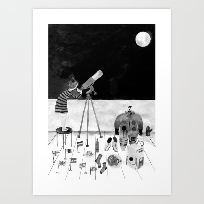 One day I'll travel to the moon Art Print