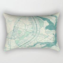 Brasilia Map Blue Vintage Rectangular Pillow