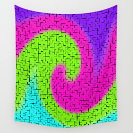 Tile Twirl Digital Illustration - Lime Green Wave Swirl - Graphic Design Wall Tapestry