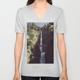 Multnomah Falls Waterfall - Nature Photography Unisex V-Neck