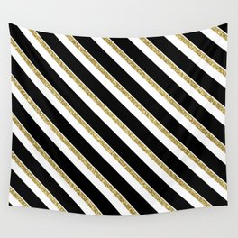 Black Gold White Stripe Pattern 1 Wall Tapestry