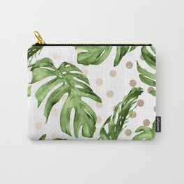 Simply Tropical White Gold Sands Dots and Palm Leaves Carry-All Pouch