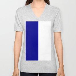 White and Dark Blue Vertical Halves Unisex V-Neck