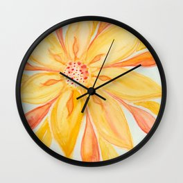 Sunburst Yellow and Orange Abstract Watercolor Flower Wall Clock