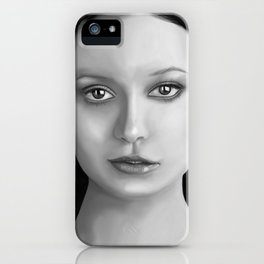 Summer Glau - The girl with the beautiful face B&W iPhone Case