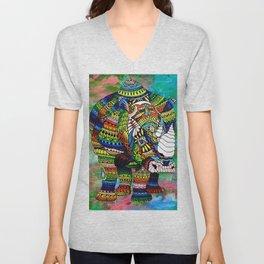 Rainbow Rhino Green Background Unisex V-Neck
