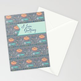 I Love Quilting Pattern Stationery Cards