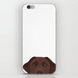 Peeking chocolate labrador dog breed cute dog face labrador retrievers iPhone Skin