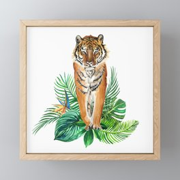 watercolor illustration of a tropical laves and Tiger Framed Mini Art Print