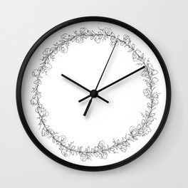 Floral Wreath Black and White Wall Clock
