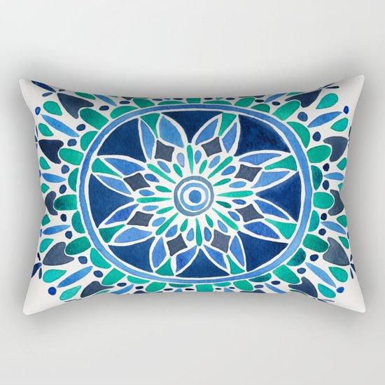 Blue & Turquoise Mandala Rectangular Pillow