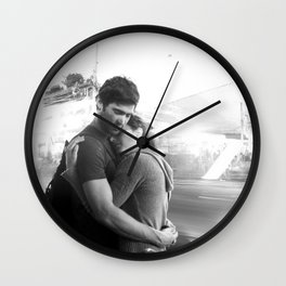 The Lovers | Timeless Night Scene Couple Embrace Romantic Hug Black and White Long Exposure Wall Clock