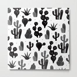Cactus garden black and white Metal Print